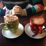 Luxury and normal hot chocolate. Both very yummy!