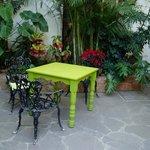 Public sitting area, lush vegetation, at Recuerdos