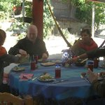 All of us enjoying Zapotec lunch prepared by Nora's friends