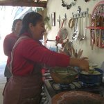 Nora's friends preparing authentic Zapotec lunch