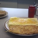 Three Cheese Omelette w/ hash browns and toast