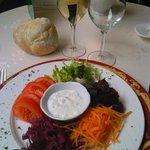 Rosace de légumes et sa sauce blanche