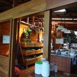 Stocked kitchen area.