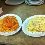 Spaghetti carbonara e spaghetti Stromboli