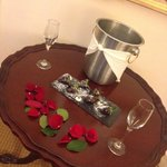 Champagne and Rose Petals on our Honeymoon Arrival!