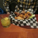 sweet chili wings appetizer and screwdriver