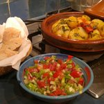Chicken tagine and Moroccan salad, made with supervision from Halima