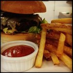 Stemple Creek beef ground fresh in house, housemade fries and plum ketchup