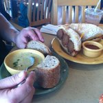 Meatball Sandwhich and Soup