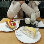 Famous fruit crepe cake, fruits cream puff, and milk pudding