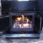 Love the wood burning stove / fireplace!