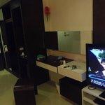 wardrobe, TV and mirror