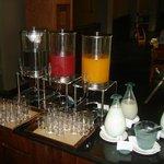 3 different fresh juices, milk, etc.
