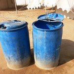 Raw water in plastic tanks used for cooking