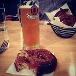 Munich Lager and a soft pretzel