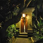 entrance to villa at night