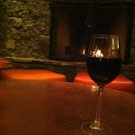 Wine at lobby fireplace.
