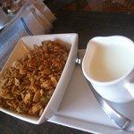 Granola with milk. good portion size!