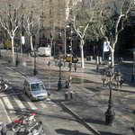 View from balcony to La Rambla