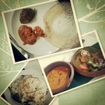 Appam, fish curry, prawn curry, coconut rice