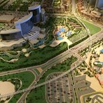 This picture of a model of the area gives a good overview of the hotel site