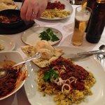Really good chicken & lamb curry , spiced rice & garlic/coriander nan!