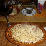 Pasta with blue cheese, vodka and cream