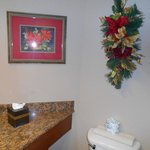 Even our bathroom was decorated for Christmas.