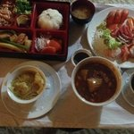 Roomservice Selection - Bento Box, Sashimi, Wonton Soup and Beef Curry