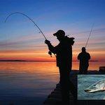Evening fishing off the dock at Kesagami