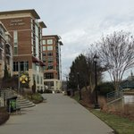 View of hotel from The Swamp Rabbit Trail