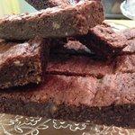 Organic almond and dark chocolate brownie..