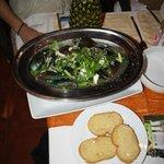 dampede muslinger i thai krydderri