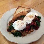 The beet and kale hash with poached eggs and sourdough toast