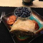 Breakfast day 2 - puff pastry, spinach, chicken chorizo, sweet potatoes and blueberries