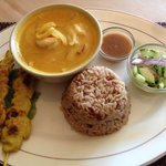 Yellow Curry Satay Chicken over brown rice