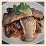 Sea bass, Thai curry, mussels and noodles