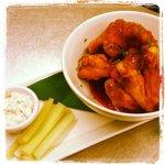 Buffalo wings, hot sauce, blue cheese dip