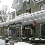 Winter view of front, with Xmas/winter decorations