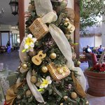 One of a few Christmas trees in lobby area