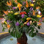 fresh flower fountain greets you as you arrive