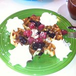 Delicious huckleberry waffles (only served on Sundays)