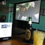 Big screen, great drinks!
