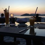 Candle light dinner with sea view and sunset
