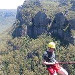 me over the edge at the Blue Mountains, Katoomba Australia