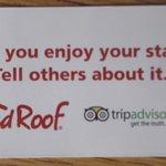 Carte remise pour inciter les clients à écrire des avis sur Trip Advisor.