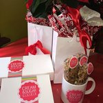 """Cream & Sugar has gift boxes of cake balls available as well as their delicious """"biker bars """" or"""