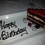 surprise birthday cake at Rambling Vine Restaurant