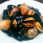 Cloudy Bay clams, D-squid ink fettucine, garlic, chilli, oregano