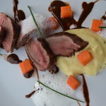 Venison back with puree